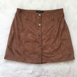 Brown button down fall skirt with belt loops